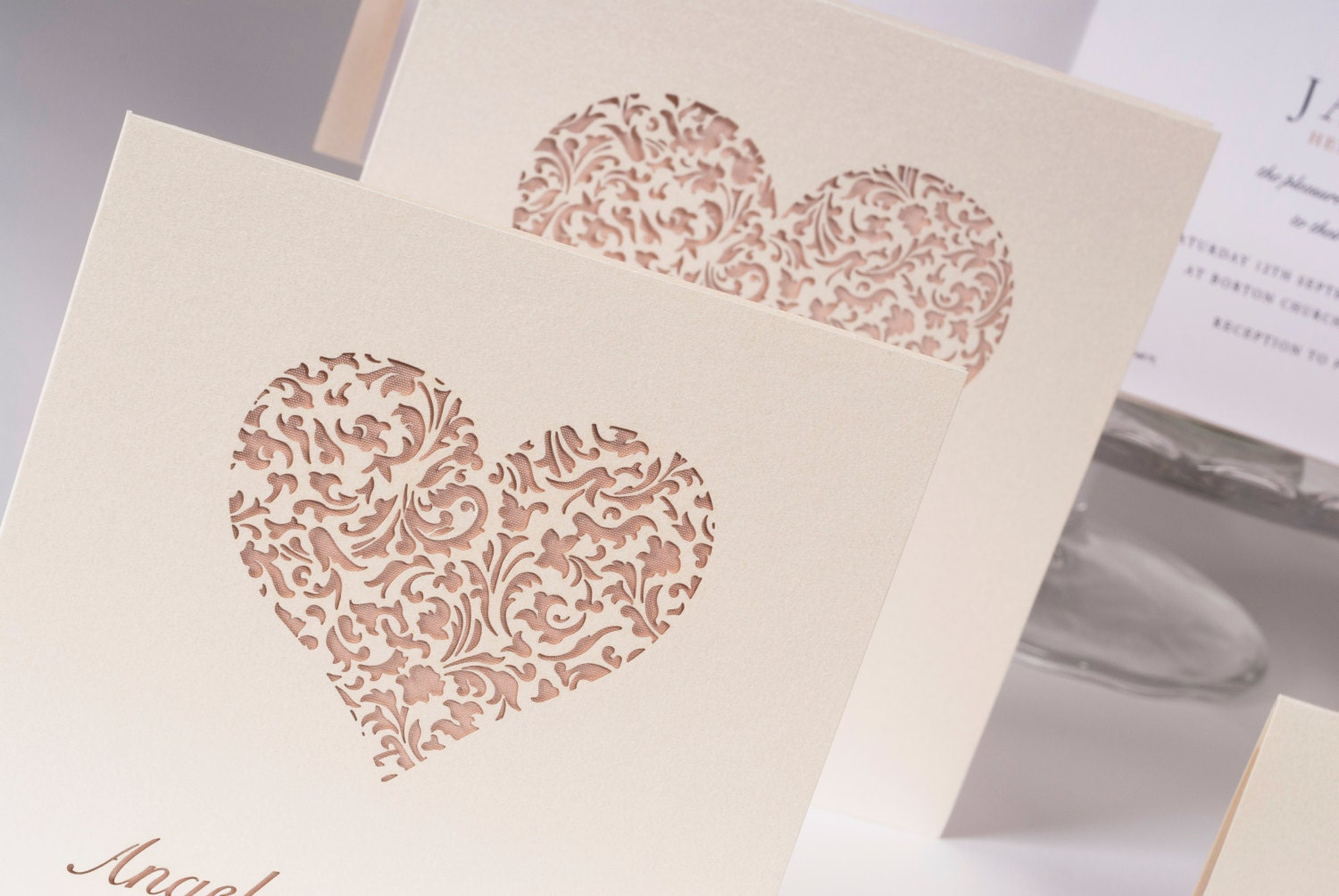 Laser Wedding Invitations: Lace Heart Laser Cut Wedding Invitation With Personalisation