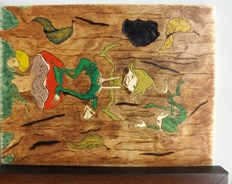 Happy Goblins Plaque- Pyrography-Wood burning- Acrylic