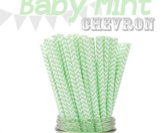 25 Baby Mint Chevron Retro Vintage Paper Drinking Straws