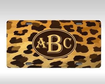 Monogram License Plate - Leopard license plate - Personalized Plate - monogrammed vanity plate