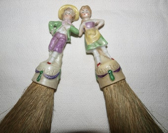 1920's German Porcelain Hansel & Gretel Doll Brushes
