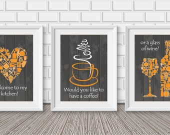 Kitchen decor - Kitchen wall art - Kitchen prints - Kitchen art - Kitchen art set - Kitchen poster set - Housewarming gift -Kitchen set of 3