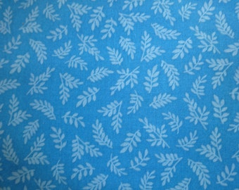 Quilting Treasures Teal w/Leaves Pattern Fabric 150