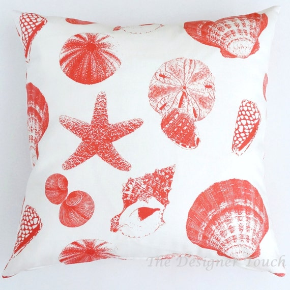 SALE Cream White Coral Designer Throw Pillow by TheDesignerTouch