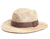 Straw hat , Unisex fedora hat , Vintage style , decorated with a stunning ribbon.
