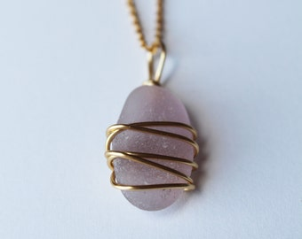 Gold and Lavender Sea Glass Jewelry Pendant