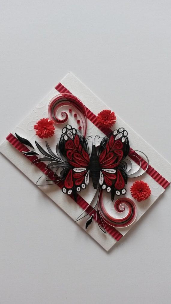 Belle main Quilling - Quilling ornements - papillon rouge - carte de voeux - carte d'anniversaire