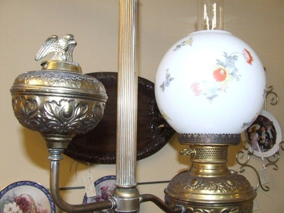 Mid century electrified reproduction oil lamp lodge lighting for Mid century reproduction