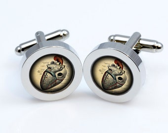 Steampunk heart  cufflink Steampunk heart Cufflinks men accessories cuff links 19mm and photo area is 14mm