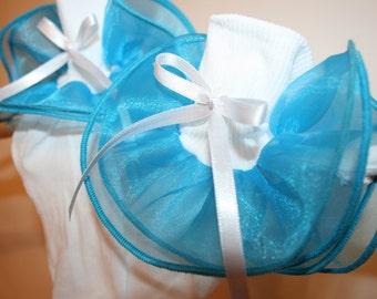 Girls White Nylon Socks with Turquoise Organza Ruffle...White Satin Ribbon Bows