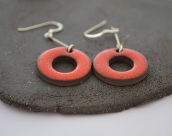 Ceramic red  earrings. Sterling silver. Ceramic Jewelry