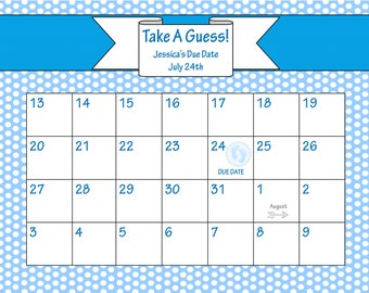 printable due date calendar baby shower game guess the date baby boy ...