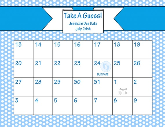 Printable Due Date Calendar // Baby Shower Game // Guess ...