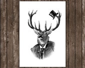 deer print, elk poster home decor, wall decor, wall hangings deer portrait with top hat and mustache, deer art print