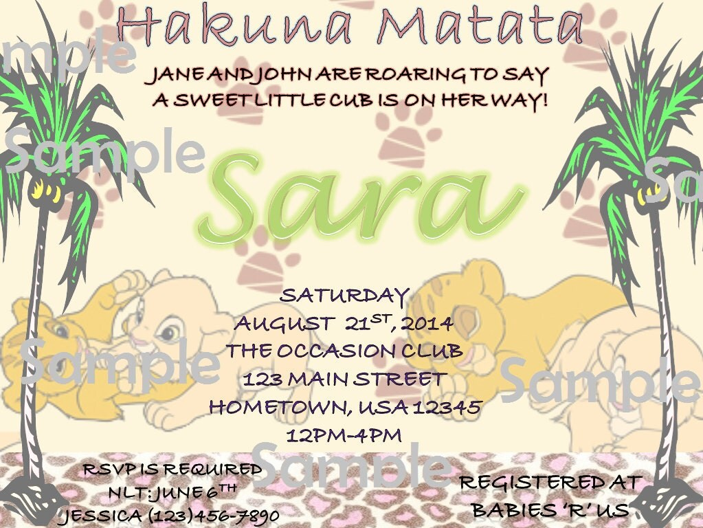 lion king baby shower invitations by rugersdesigns on etsy