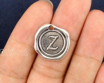 20pcs of Antique Tibetan silver Letter Z Alphabet Charms pendants 18x18mm