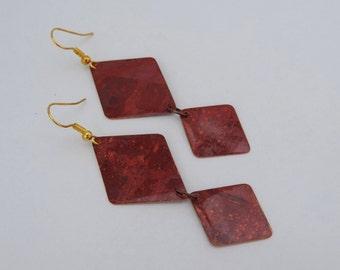 Flame Colored Copper Earrings - Diamond shaped Dangle Earrings