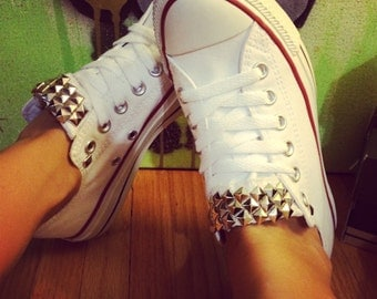White Custom Studded Converse All Star Shoes! ALL SIZES & COLORS! Chuck Taylors; Custom Converse High Tops; Studded Shoes; Wedding Chucks;