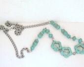 Vintage blue striped resistor stone beads necklace steam punk geek