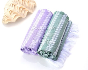 Natural Organic Set of 2 Turkish Bath Towel Soft Baby Towel Body Wash Towel Organic Cotton Natural Cotton Towel Handwoven Cotton Swim Towel