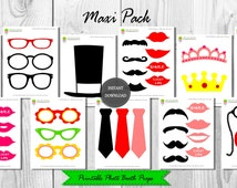 Printable Photo Booth Props–44 Pieces-Instant Download–Wedding Photo Booth–Mustaches–Lips–Glasses–Hats–Monocle–Photo Booth Prop–Maxi Pack