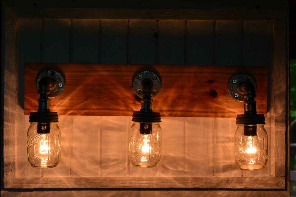 Rustic Mason Jar Vanity Light by reclaimerdesign on Etsy
