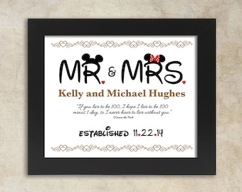 Mr. and Mrs. Mickey and Minnie personalized 8x10 digital sign with quote and year established. Makes a great gift for the Disneymooners.