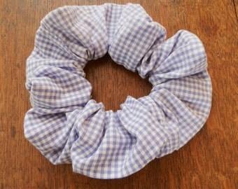 Handmade Bluey-Lilac Gingham Oversized Hair Scrunchie Vintage Material