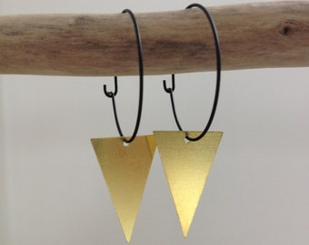 Black Triangle gold Creole earrings