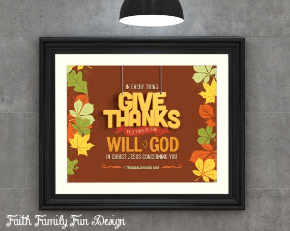 Thanksgiving Classroom Wall Decor : Bible verse art printable scripture give thanks i thess