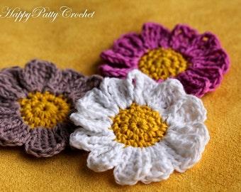 Mini Crochet Flowers - Mini Crochet Daisy - Flower Necklace Applique - Daisy Hair Accessory - F085 - 5PCS