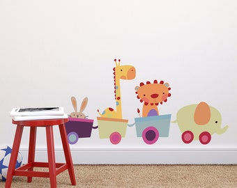 Fabric Animal Toy Train Wall Sticker
