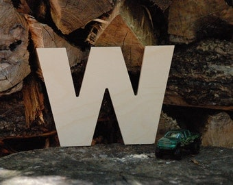 "Unfinished 6"" wooden letter -- letter ""W""-- Arial font -- 1/2"" thick Baltic birch plywood -- wedding, birthday prop -- nursery craft"