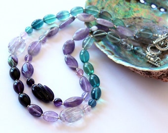 Set of two Necklaces, Fluorite and Amethyst Necklace, Gemstone Beaded Necklace, Long or Double Strand Necklace, Colourful Fashion Unusual