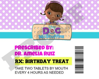 Doc McStuffins Prescription Bottle Labels