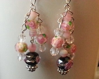 Pink Rose Chandelier Earrings