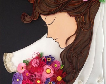 Handmade paper quilling bride with flower bouquet, framed in shadow box, wedding gift, wall art
