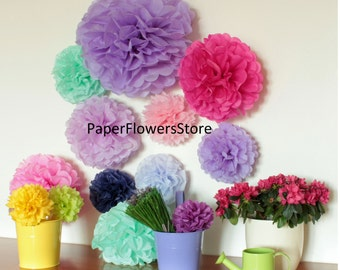 Tissue Paper Flowers set of 24 (4/10/10)  -  Hanging Flowers - Paper Blooms -  Pom Poms - Paper Balls - Wedding set - Birthday decorations