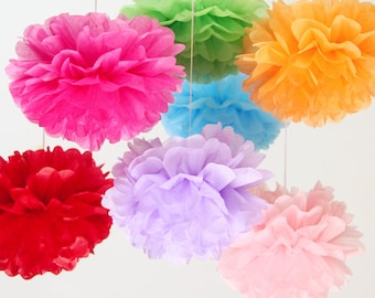 Rainbow Party! - Tissue Flowers set of 10 (6L/4M) - Hanging Flowers - Paper Pom Poms - Paper Balls - Wedding set - Birthday decorations