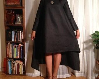 Brooklyn-Made , Brooklyn Style Black Linen Maxi, Black Asymmetrical Maxi, Long Sleeve Maxi, Loose Fit Summer Dress