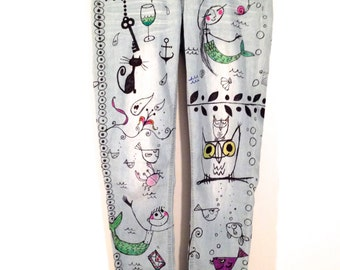 "Recycled skinny jeans ""Treasure"", hand-painted by artfink. Mermaids & more...Exclusive, one-of a-kind wearable art!"