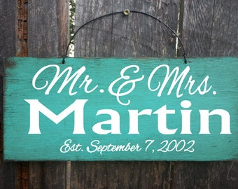 Personalized Mr. and Mrs. Sign, established sign, personalized namesign, anniversary gift, wedding gift, family name sign, mr and mrs sign