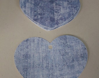 Paper Heart Gift/Price Tags Blue White Wash Finish - 12