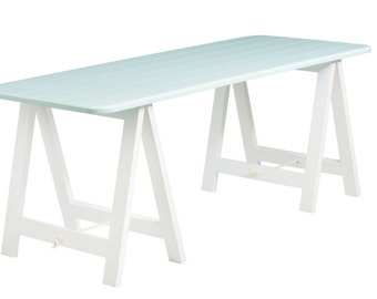 Blue Top + White Legs Trestle Table   Desk, Dining Table, Console Table,
