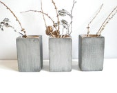 WOOD VASES silver set vases home decor gray Herb planters Gift set Set of 3 painted silver Decor Wedding gift by RusticFrameShop
