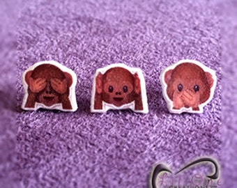 Fun Emoji Monkey See No Evil, Hear No Evil, Speak No Evil Earrings