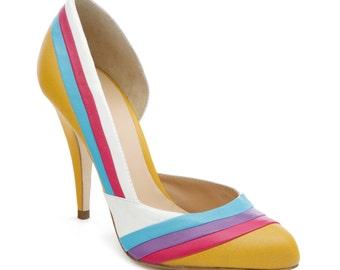 Multicolor cold stiletto pumps