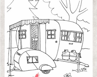Wonderful  And Rv Camper Trailer Coloring Page  Free Printable Coloring Pages