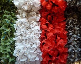 Knitted chiffon ribbon scarf