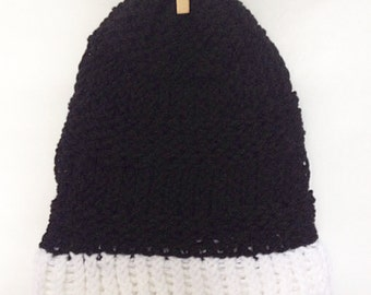 Teen/ Adult Black and White Knitted Slouch Beanie